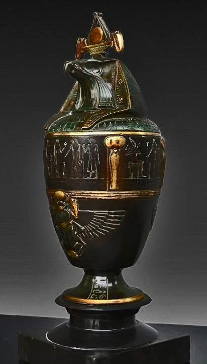 French Egyptian Revival canopic jar with Horus lid ~ 1920