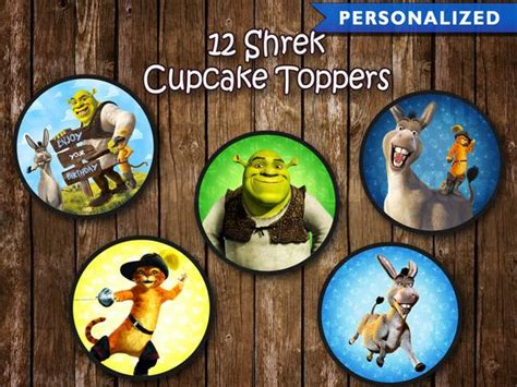 Shrek Cupcake Toppers Shrek Birthday Decorations Shrek