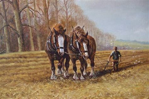 Antiques Atlas - Landscape Oil Painting Of Shire Horses