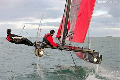 Flying Phantom Sailboat Sails Two Feet Above The Water