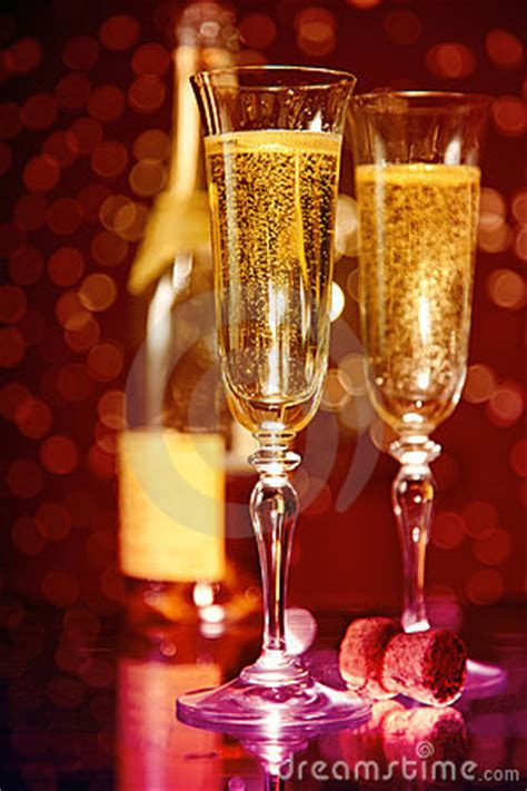 Elegant Champagne Glasses And Bottle Stock Photos - Image