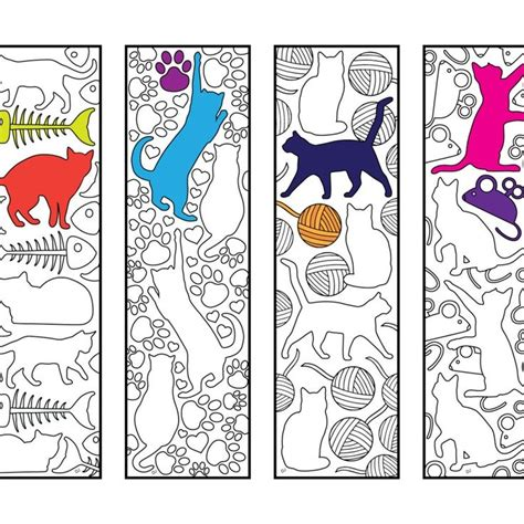 Cute Cat Bookmarks - PDF Zentangle Coloring Page
