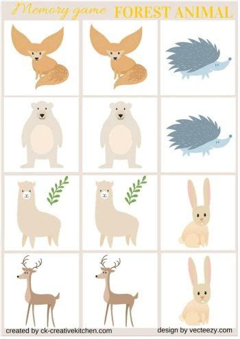 WILD FOREST ANIMALS - #MEMORY #GAME FREE PRINTABLES (With