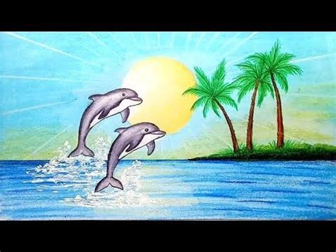 How to draw scenery of Dolphin in beach